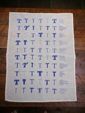 """Vintage Typography """"T"""" Blue White Cotton Linen Font Nerd Tea Towel"""