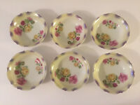 "Lot of 6 Silesia China SIL120 Yellow & Pink Roses - 5-1/4"" DESSERT / FRUIT BOWLS"
