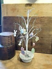 Adorable Vintage Easter Tree With Wooden Ornaments Bunnies Eggs Chick