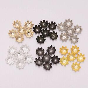 100pcs/Lot 8 10 mm Lotus Flower Metal Loose Spacer Bead Caps Cone End Beads Cap'