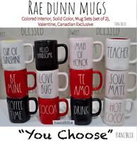 "RAE DUNN Mug Colored Interior, Sets (2), Valentine, Canadian ""YOU CHOOSE""'18-20'"