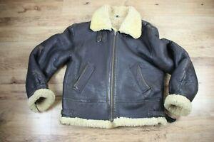 Vintage Aviator B3 Flight Men's Leather Sheepskin Shearling Bomber Jacket Coat L