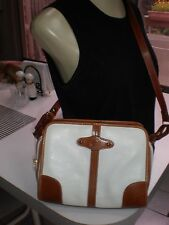 PREGO Italian Leather ZIP UP  Crossbody Bag VINTAGE WHITE & BROWN RICH LEATHER