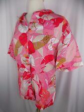 John Paul Richard Women's Uniform Button Down Shirt Size 1X Floral Linen