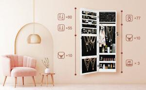 Ezigoo Jewellery Cabinet JC-05 White with Mirror Wall or Door Mountable BNIB