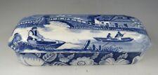 Antique Pottery Pearlware Blue Transfer Wild Rose Pattern Razor Box & Cover 1825
