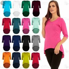 Womens Ladies 3/4 Sleeves High Low Stretchy Dipped Hem Bodycon Mini Dress Top