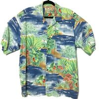 Kona Kai Trading Co Hawaiian Aloha Camp Shirt Blue Floral Parrots Mens Size XL