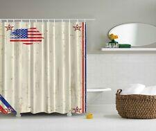 Americana Patriotic Rustic USA Flag Shower Curtain 4th July Stars Stripes Decor