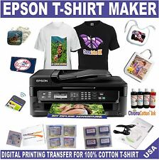 EPSON PRINTER WITH REFILL INK  T-SHIRT MAKER TRANSFER  COTTON INK START UP PACK