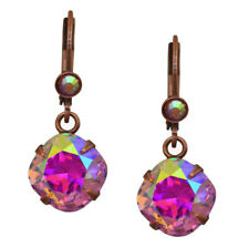 KIRKS FOLLY PRINCESS CRYSTAL LEVERBACK EARRINGS coppertone