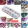 3000pc Mixed 3D DIY Nail Art Rhinestone Glitter Acrylic Tip Decor Manicure Wheel