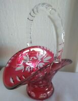 Vintage Crystal Cranberry Cut to Clear 8 inch Handled Basket Applied Handle