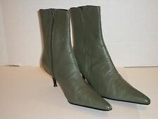 Cami Women's Moss Green Fine Leather Heel Boots Size 8 Very Nice