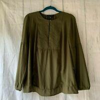 Banana Republic Women's Size M Embroidery Long Sleeve Olive Green Boho Blouse