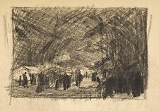 Jules PONCEAU 1881-1961 Dessin Fusain 1908 Fête de Nuit Pentecôte Honfleur 14