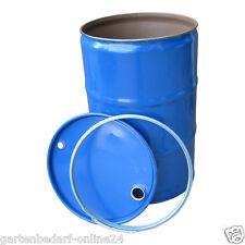 200 Liter Feuertonne Blechfass Eisenfass Metallfass Tonne + Deckel Spannring