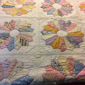 "Handcrafted Quilt Wedding Ring Pattern 77x77""Multicolor Pastels Cotton Vintage"