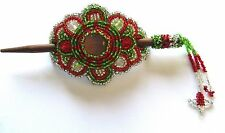 Spirit of Nature Hair Clip With Stick- Seed Beads red green silver stones