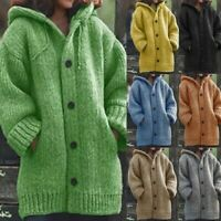 Women Chunky Knitted Cardigan Ladies Warm Sweater Coat Jackets Jumper Winter UK