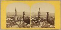 Italia Panorama Da Florence Foto Stereo P8L2n Vintage Albumina Ca 1860