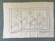 New listing Pumpkin Row Pattern Monks Cloth 18 X 25 Crow Stars Crescent Moon Primitive