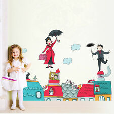 R00372 Wall Stickers Sticker Adesivi Murali Camerette Mary Poppins tetto 100x40