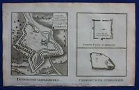 Original antique print DONNIGTON CASTLE, BERKSHIRE, CARLISLE CASTLE, 1786