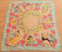 Vintage Scarf Historical Dancing Couples Blue Pink Yellow Victorian Medieval