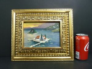 "MUSEUM ORIGINAL ART OIL ON BOARD""ISLAND MANSION"" W/ GILDED FRAME 12""X 10"" HQ 232"
