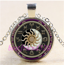Astrology Sun and Moon Cabochon Glass Tibet Silver Chain Pendant Necklace#CA50