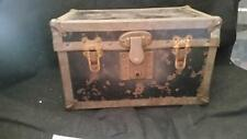 ANTIQUE VICTORIAN METAL CHILD'S TRUNK with floral wallpaper interior