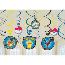 POKEMON BIRTHDAY PARTY HANGING SWIRL DECORATION - Pack 12