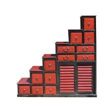 Chinese Distressed Brick Red Black Tansu Step Cabinet cs5788