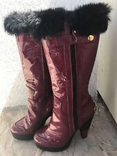 Vicini Patent Leather Burgundy / Black Fur Heel Shoes Boots Size 38 / 8 US UGG
