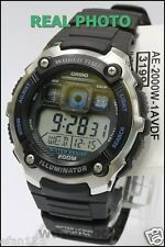 Casio Ae-2000w-1a Digital World Time Mens Sports Alarm 200m Resin Watch Ae2000w