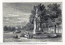 Antique print fountain Paseo del Prado Madrid Spain 1869 grabado antiguo