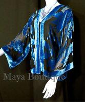 Wearable Art Burnout Velvet Fringe Jacket Hand Dyed Coral /& Orchid Maya Matazaro