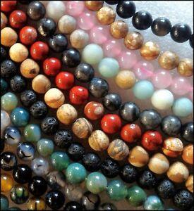 Perles rondes 8mm - 8,5mm pierres semie précieuses naturelles au choix