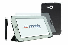 Funda PU para Samsung Galaxy Tab 3 Lite (T110/111/T116)+ lápiz+ protector- Negro