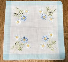 "Vintage Handmade Ribbon Embroidered Linen Square Pillow Cover Floral 16""x16"""