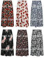 LADIES WOMENS FLORAL PLEATED LONG MAXI SKIRT ELASTICATED WAIST PLUS SIZE 14-32