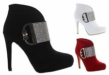 WOMENS FAUX SUEDE SILVER DIAMANTE CONCEALED PLATFORM HIGH HEEL ANKLE BOOTS SHOES