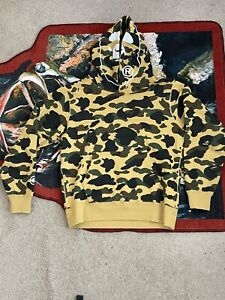BAPE 1st Camo 2nd Ape Pullover Hoodie Yellow Size M 100% Authentic!!!
