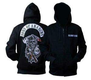 Sons Of Anarchy BLACK Zipper Hoodie Embroidered Patch Fashion Hooded Unisex