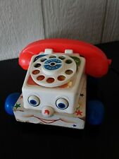 Vintage Fisher Price Chatter Box Telephone Play Phone Pull Toy Wood Base