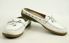 Minnetonka White Slide Moccasin Size 9 Silver Stud and Ring Detail Hard Sole