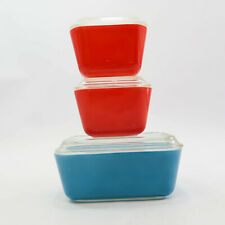 Vintage Collectible Red & Blue Pyrex Refrigerator Dish Clear Glass Lid lot