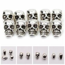 10/20 4mm Antique Silver Skull Head Spacer Beads Jewelry Bracelet Findings Hole