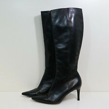 GUCCI BLACK LEATHER KNEE HIGH ZIP UP BOOTS size 38.5 5.5 - VINTAGE